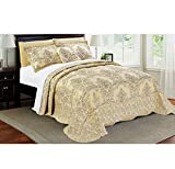 4 Piece Beautiful Beige Queen Bedspread Set, Floral Themed Bedding Stylish Vintage Antique Pretty Classic Elegant Shabby Chic Scalloped Flower Garden Damask French Country, Microfiber, Polyester