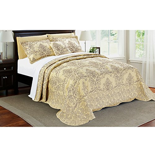 4 Piece Beautiful Beige Queen Bedspread Set, Floral Themed Bedding Stylish Vintage Antique Pretty Classic Elegant Shabby Chic Scalloped Flower Garden Damask French Country, Microfiber, Polyester by AD