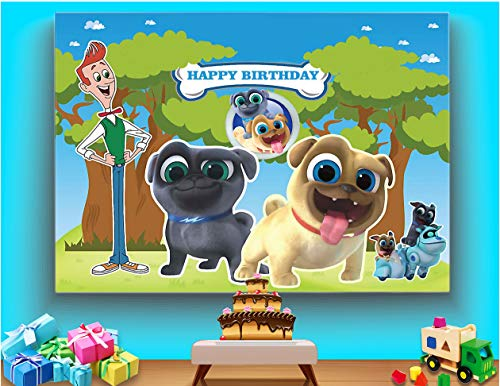TJ Cartoon Puppy Dog Pals Theme Backdrop Boys Kids Birthday Party Photography Background Cake Table Decorations Banner Baby Shower Photo Studio Booth Props 7X5FT Vinyl