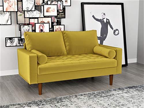 Container Furniture Direct S5459 Mid Century Modern Velvet Upholstered Tufted Living Room Loveseat, 57.87