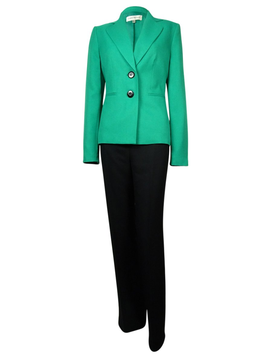 Le Suit Evan Picone Women's Madison Ave Notch Woven Pant (4, Emerald/Black)