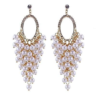 Kaymen Jewlery 18k Gold Platinum Tone Metal Pearls Drop and Rhinestone Button Dangle Earrings for Women 2 Colors