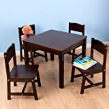 Table & 4 Chair Set, Multiple Finishes, Made of Sturdy Wood Construction, Durable Finish, Kid's Playing Set, Indoor Home Furniture, Children Set, Kid's Table and Chair Set, BONUS e-book (Espresso)