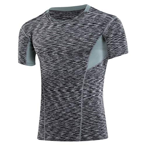 (YKARITIANNA Summer New Men's Summer Casual O-Neck T-Shirt Fitness Sport Fast-Dry Breathable Top)