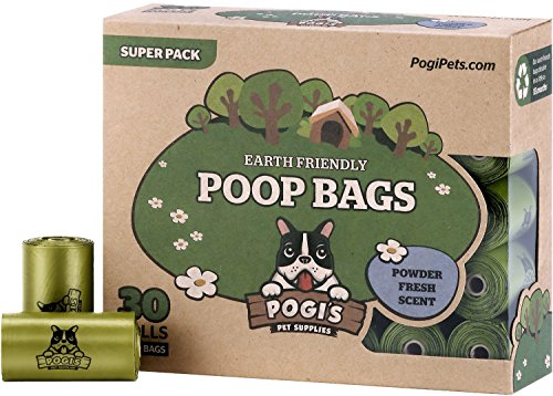 Pogi's Poop Bags - 30 Rolls (450 Bags) - Large, Earth-Friendly, Scented, (Dog Poo Bags)