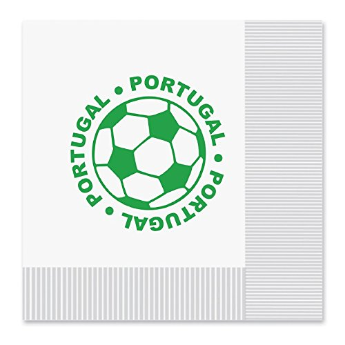 Club Pack of 192 White and Green 2-Ply ''Portugal'' Soccer Ball Paper Party Lunch Napkins 6.5''