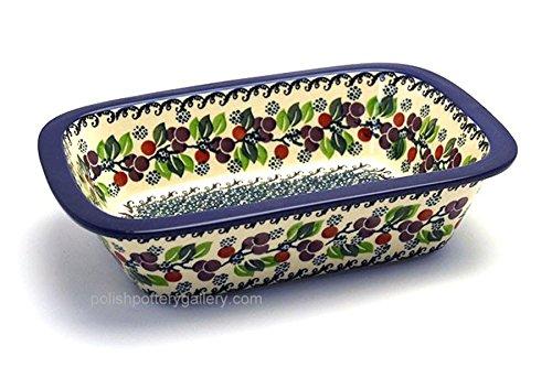 Polish Pottery Baker - Rectangular with Grip Lip - Burgundy Berry Green