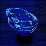 LE3D 3D Optical Illusion Desk Lamp/3D Optical Illusion Night Light, 7 Color LED 3D Lamp, Lamborghini 3D LED For Kids and Adults, Sports Racing Car Light Up