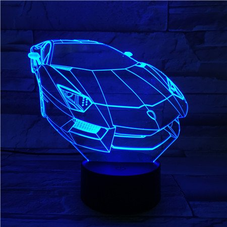 Le3d 3D Optical Illusion Desk Lamp 3D Optical Illusion Night Light  7 Color Led 3D Lamp  Lamborghini 3D Led For Kids And Adults  Sports Racing Car Light Up