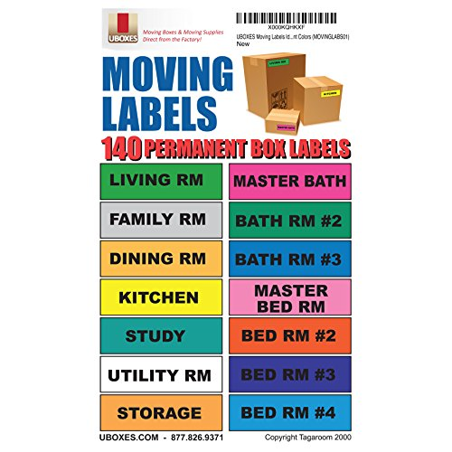 UBOXES Moving Labels Identify Moving Box Contents with 140 Labels, 4.5 x 1