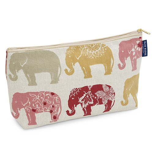 Blue Badge Company Cotton Padded Toiletries Case Wash Bag with Waterproof Lining, Indian Elephant Print TB-ELE-467