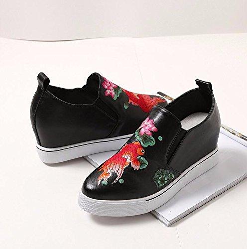KHSKX-Schwarz 8 Cm Innerhalb Eines Faux Leder Einzel Schuhe Spring Hill Und Der Neue Staat Erhöhte Damenschuhe Zu Erhöhen. 39