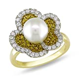 14k Yellow Gold Cultured-Freshwater Cultured Pearl and Yellow Diamond Ring (.87 cttw, G-H Color, SI Clarity), Size 7