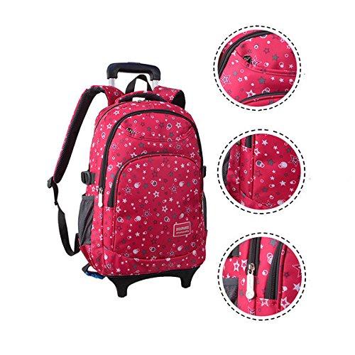089328e8e2 Lalawow 2 in 1 SMONTABILE Bella trolley borsa di scuola con ruote trolley  zaino di scuola con ruote cartella borsa libri borsa zaino trolley con  ruote per ...