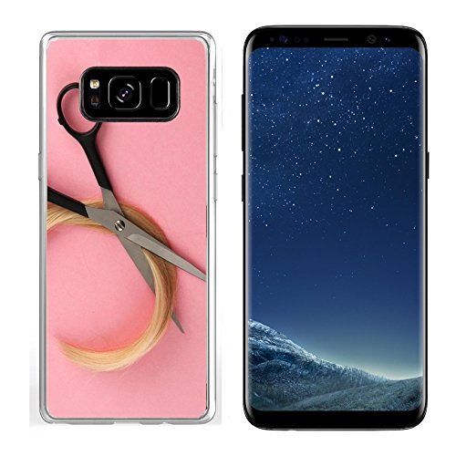 (Luxlady Samsung Galaxy S8 Clear case Soft TPU Rubber Silicone IMAGE ID: 18038933 Hair and cutting shears on pink background)