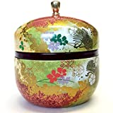 Japanese tea canister tin Suzuko/double lid/air-tight / 3.5 oz (150g) green tea (red)