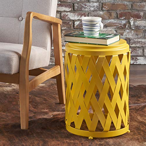 Christopher Knight Home Perciad Indoor 12 Inch Diameter Lattice Matte Yellow Iron Side Table