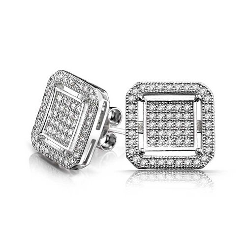 Rounded Square Earrings - Geometric Rounded Square Double Box Cubic Zirconia Pave CZ Stud Earrings For Men 925 Sterling Silver 12mm