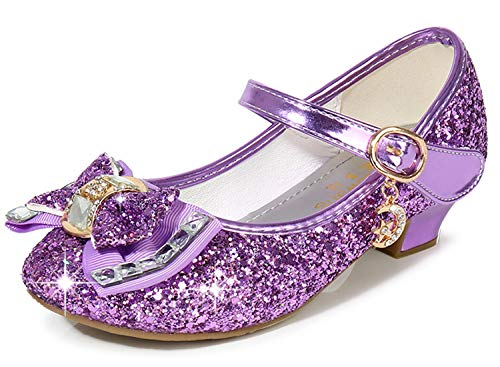 Mary Jane Purple Shoes for Toddler Girls Wedding Party Prom Sequins Glitter Flower Girls Shoes Princess Size 12 7 Yr Dress up Cosplay Little Girls Party High Heeled Dress Shoes (Purple 31)