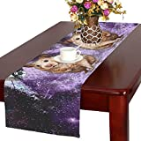 Artsadd Animal Marmots in Space Galaxy Solar System Kitchen Dining Table Runner 16x72 inch