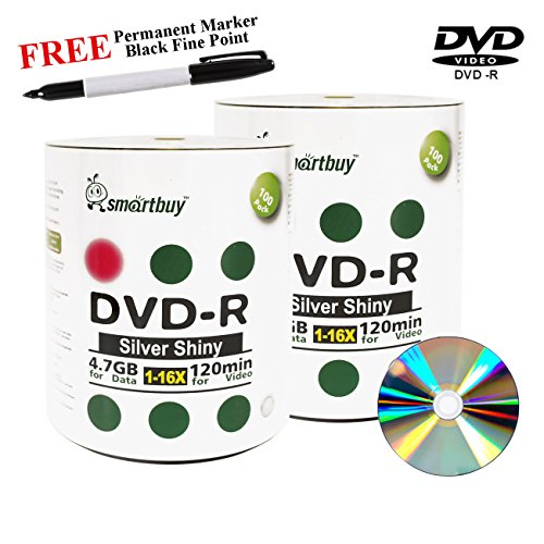 Smartbuy 200-disc 4.7GB/120min 16x DVD-R Shiny Silver Blank Media Record Disc + Black Permanent Marker by Smartbuy