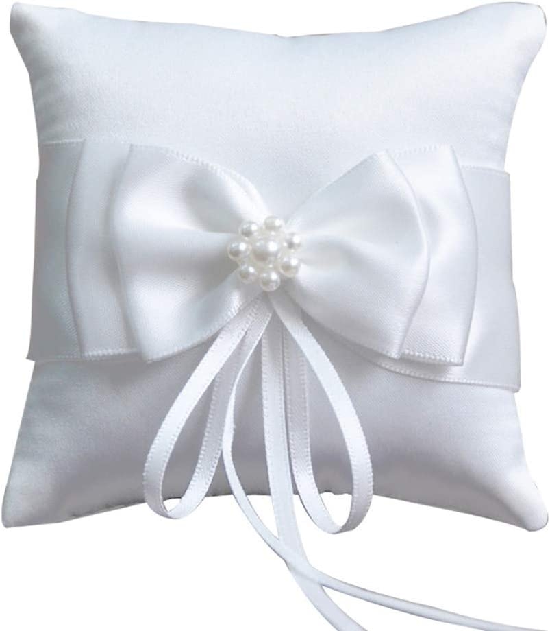 Ring Pillow Pearls, Decor Bridal Wedding Ring Bearer Pillow, 7.8 Inch x 7.8 Inch (White)