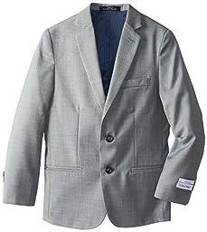 Calvin Klein Big Boys\' Sharkskin Blue Deco Jacket, Light Grey, 14