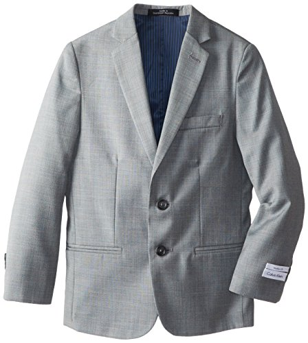Calvin Klein Big Boys' Husky Sharkskin Blue Deco Husky Jacket, Light Grey, 14 (Husky Suit Jacket)