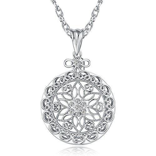 Magnifying Glass Necklace Pendant Silver 2.5X Vintage Filigree Sliding Top Magnet Magnifer on Chain for Reading ()