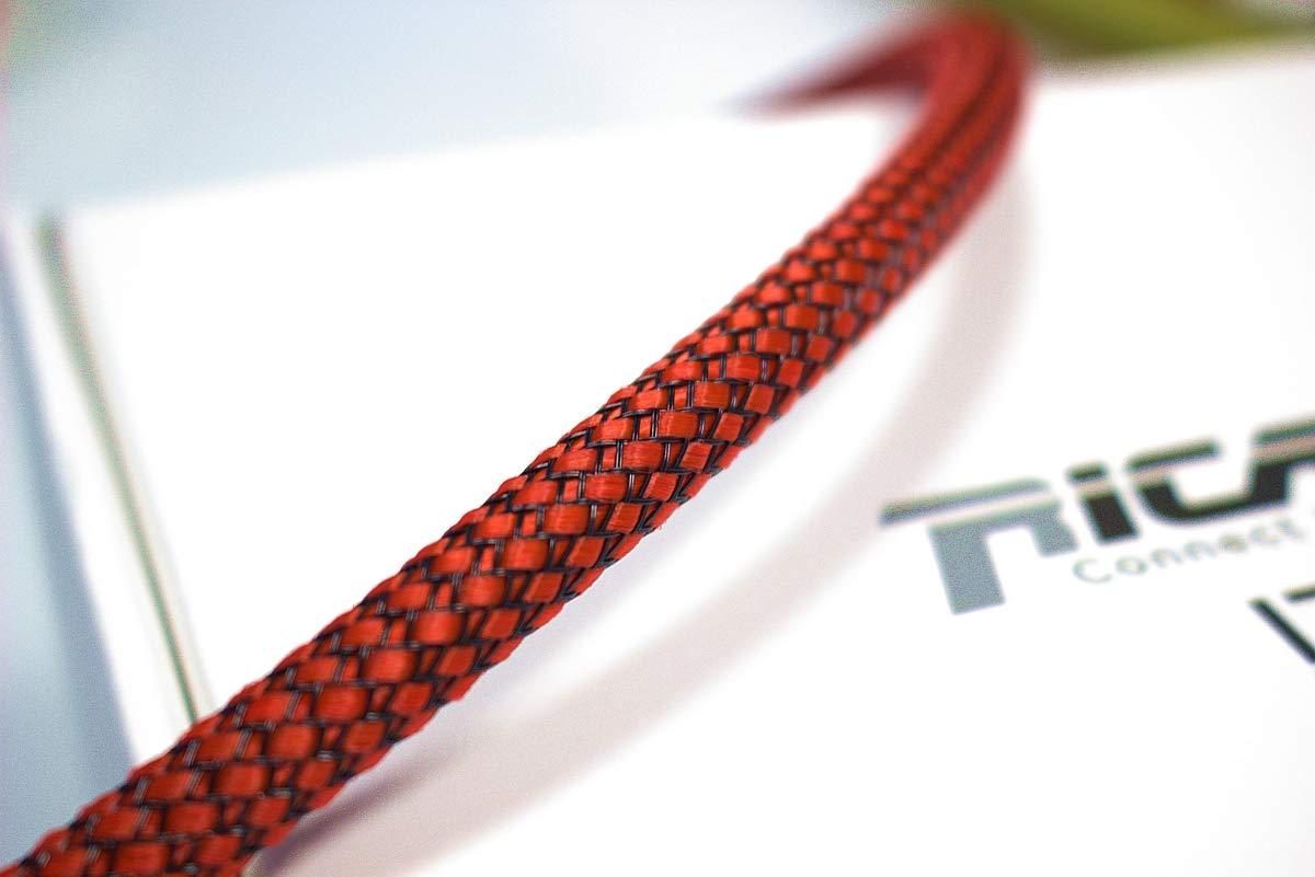 Ricable Custom RB08//10 Rouge//Noir 10m Gaine de Protection tress/ée pour c/âble 4-10 mm