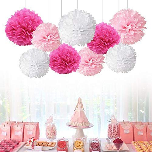 9 Pcs Assorted Hanging Tissue Paper Pom-Poms Flower Balls Decor Kit for Birthday Wedding Party Baby Shower Decorations White Peach Pink]()