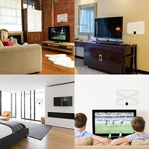 HDTV Antenna60 80 Mile Range Digital TV Receiver With Detachable Amplifier USB Power Supply And 164ft Coax CableIndoor TV Antenna Transparent Appearance Upgrated Version2018 New Version TV Antennas