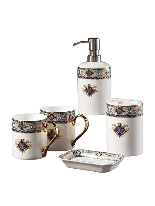 MUZIDP Artículo Conjunto ceramicbathroom,5 Piezas Jabonera Cepillo de Dientes Vaso Redondo Dispensador de loción