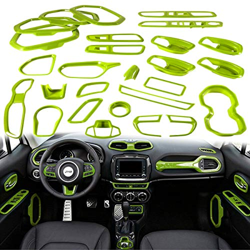 Yoursme Green Car Interior Accessories Decoration Cover Trim Kit 31PCS Air Conditioning Vent & Door Speaker & Water Cup Holder & Passenger Side Grab Handle Covers for Jeep Renegade 2015-2018