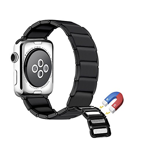 LOYUT for Apple Watch Band 38mm 42mm, Women Men Stainless Steel Metal Adjustable Magnetic Buckle Replacement Bands for iWatch Sport Edition Series 3 2 1 Black 42mm