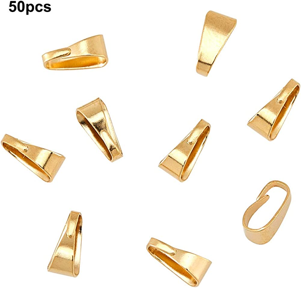 Hole 6x3mm UNICRAFTALE 50pcs Golden Snap on Bails Stainless Steel Pinch Bails Pendant Bails Connectors Hook Pendant Clasps for DIY Dangle Charms Neckalce Jewelry DIY Craft Making 7x3.5x3.2mm