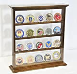 4 Shelves Military Challenge Coin Curio Stand Rack w/ UV Protection Viewing from both side, Walnut
