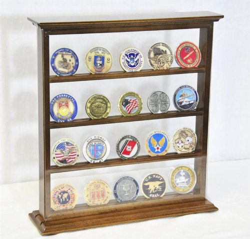 4 Shelves Military Challenge Coin Curio Stand Rack w/ UV Protection Viewing from both side, Walnut by sfDisplay