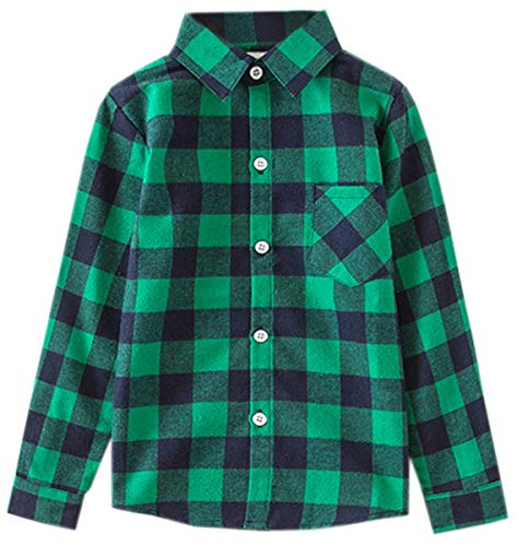 Girls' Long Sleeves Button Down Plaid Flannel Shirt Blouse for Children Little and Big Girls, Green, 9-10 Years = Tag - Blouse Childrens
