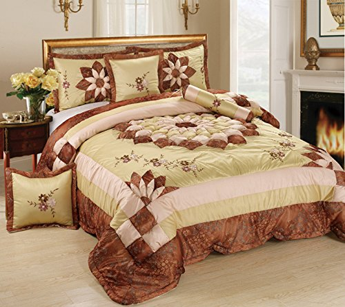 (Tache 6 Piece Elegant Brown Floral Autumn Royal Bouquet Medallion MZ1265-Q Comforter Quilt Set, Queen)
