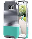 ulak galaxy note edge case - S7 Case, Galaxy S7 Case, ULAK Hybrid Case for Samsung Galaxy S7 2016 Release 2-Piece Dual Layer Style Hard Cover ( Minimal Mint Stripes+Grey) Will not Fit S7 Edge