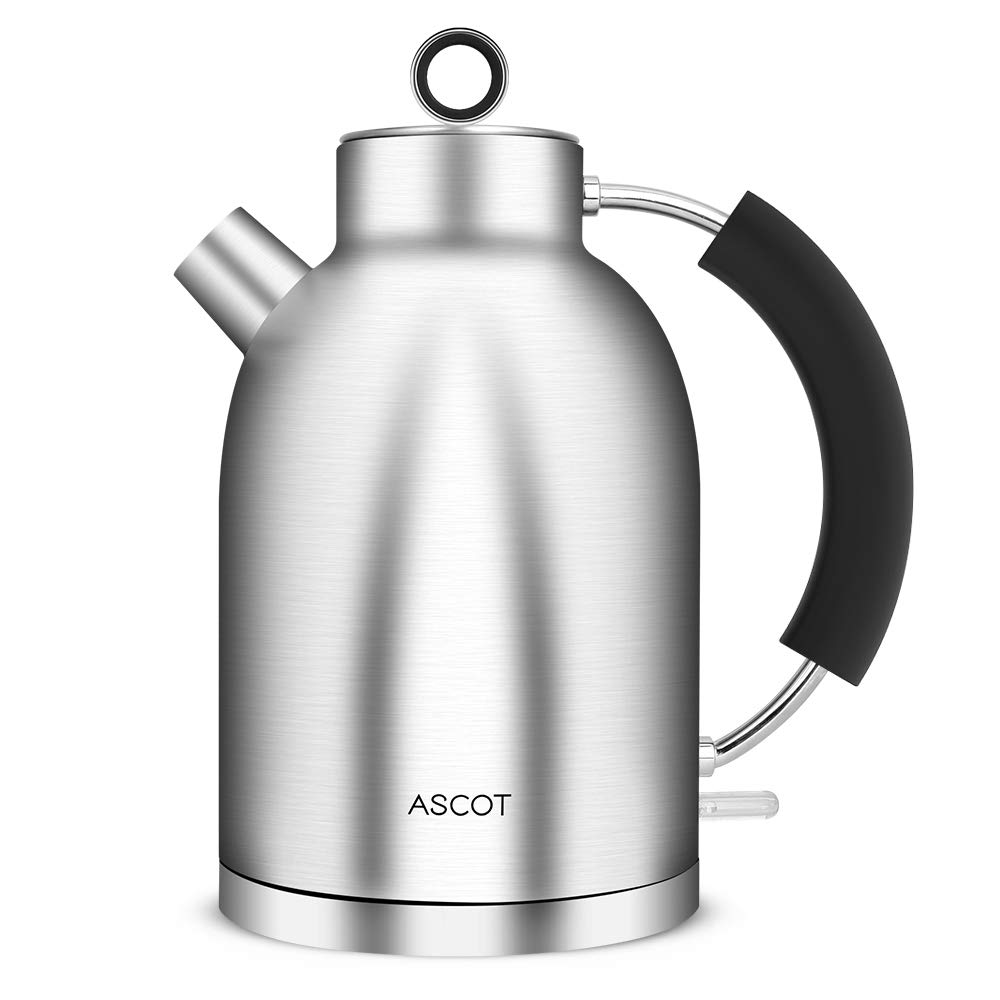 Kettle Stainless Steel - 1.5L Electric Kettle with Fast Heating, 3000W Fast Boil Electric Kettle, Food Grade Material Cordless Kettle, Boil Dry Protection & Automatic Shut-Off ASCOT