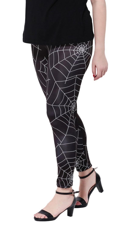 Woo2u Women's Basic Spider Web Print Stretch Skinny Leggings Pants