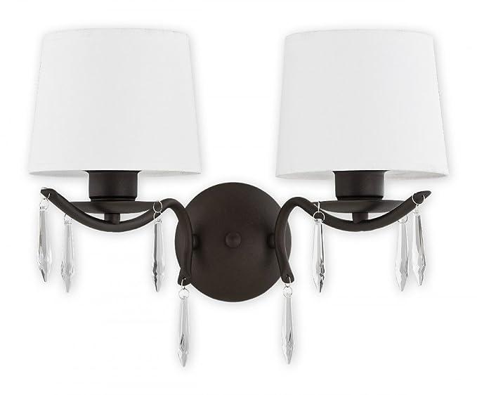 Lampada Vintage Da Parete : Lampada da parete con paralume tessuto e vetro cristallo lampada