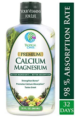 Premium Liquid Calcium Magnesium Citrate - Natural formula w/ support for strong bones - Liquid Vitamin Supplement w/ Calcium, Magnesium, Boron & Vitamin D3 - Up to 98% Absorption Rate- 32oz, 64 Serv