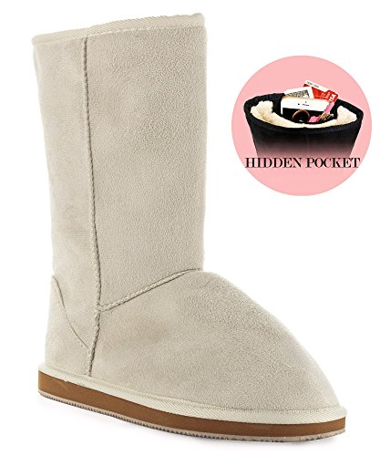 RF ROOM OF FASHION Room Of Fashion Winter Pull-On Mid Calf Boots - Comfort Shearling Fur Lined Vegan Suede Anti-Slip Rubber Sole - Exclusive Cell Phone Pocket Booties (Ivory Suede Size 9)