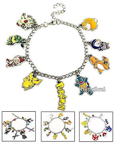 9 Charms Pokemon Bracelet - Pikachu, Charmander, Squirtle. Ideal gift idea