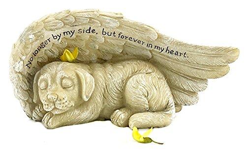 Elaan31 Sleeping Dog with Angel Wings Garden Statue 8 x 4