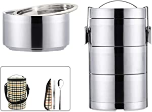 Three Layers Kids Lunch Box Bento Box,Stainless Steel Food Container Storage Boxes,for Kids Children Adults Office School Camping,Lunch Storage Containers with Lunch Bag