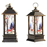 5.1 inch Tall Vintage Style Decorative lamp, Outdoor Hanging Design flameless led Candle Christmas Night Light Battery Operated for Christmas Home Decoration (Bronze)